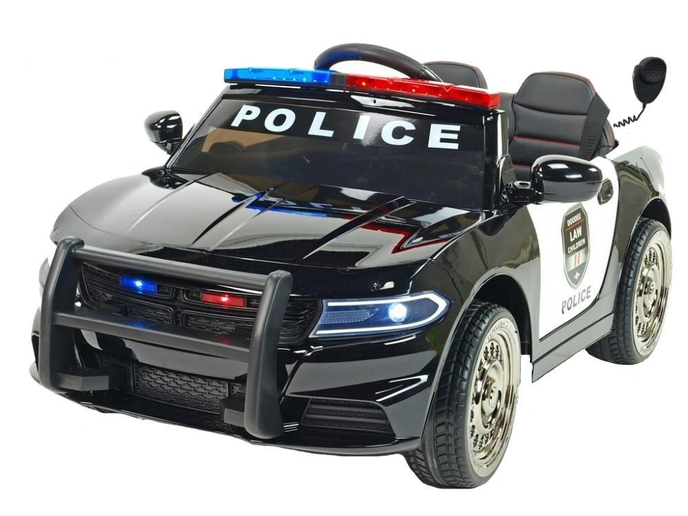 Masinuta electrica Police Patrol Black cu scaun de piele